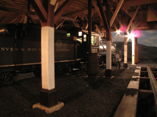 interior shot of Glenn Farley's Gunnison roundhouse.