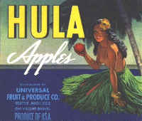 Hula brand apple crate end label, yellow.
