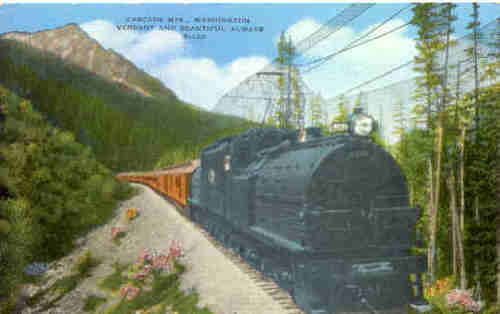 Milwaukee electricl locomotive in the Washington State Cascades